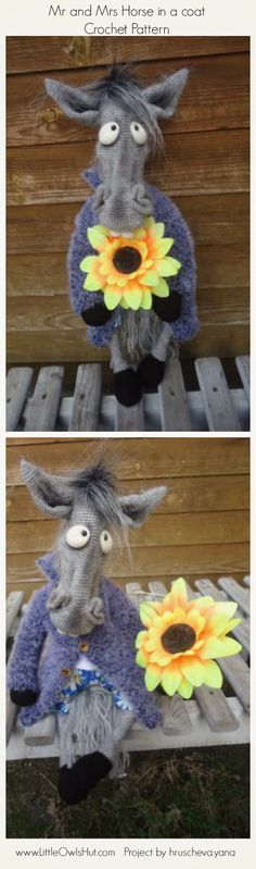 "Mr and Mrs Horse in a coat Crochet Pattern www.LittleOwlsHut.com  Project Mr and Mrs horse. ""Mr and Mrs horse"" crochet pattern designed by Astashova for LittleOwlsHut was used to make this toy. Pattern is for an experienced crocheters. Coat is KNITTed not crochet. Toy has a wire frame inside but can't stand on its own. Look at our other horse projects pins for Ideas how to decorate you lovely toy. #LittleOwlsHut, #Amigurumi, #Astashova, #CrochetPattern, #Horse, #DIY, #Pattern, #Toy"