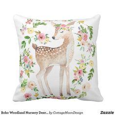 Boho Woodland Nursery Deer Watercolor Baby Pillow