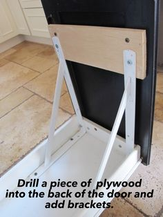 Step by step with pictures on how to turn a door and a drawer into a pull out trash can