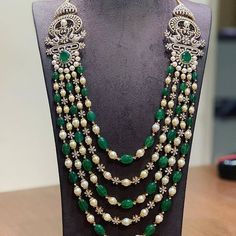 Layered diamond pearl and emerald beads haram photo Layered diamond pearl and emerald beads haram photo Indian Jewelry Earrings, Emerald Jewelry, Wedding Jewelry, Jewelery, Beaded Necklace, Necklaces, Gold Jewelry, Gold Necklace, Gold Jewellery Design