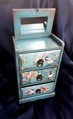 Jewelry box vintage mini chest of drawers shabby chic