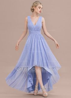 [US$ 107.49] A-Line/Princess V-neck Asymmetrical Tulle Bridesmaid Dress With Ruffle