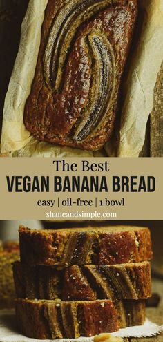 This vegan banana bread recipe is so easy to make and completely oil-free. It's healthy, moist, and the best vegan banana bread ever! 1 bowl and 7 simple ingredients are all you need. Banana Bread With Oil, Easy Banana Bread, Chocolate Banana Bread, Banana Bread Recipes, Chocolate Recipes, Banana Nut, Vegan Dessert Recipes, Vegetarian Recipes Easy, Delicious Vegan Recipes
