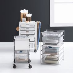 Available exclusively at The Container Store, shop our bestselling Elfa drawer unit & cabinet drawer solutions. Bath Storage, Pantry Storage, Storage Hacks, Storage Ideas, Rolling Cart With Drawers, Desk With Drawers, Cabinet Drawers, Home Organization, Organizing