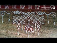 Rangoli Side Designs, Simple Rangoli Designs Images, Rangoli Borders, Free Hand Rangoli Design, Small Rangoli Design, Rangoli Designs Diwali, Rangoli Designs With Dots, Kolam Rangoli, Rangoli With Dots