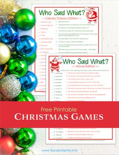 """Free Printable Christmas Games - """"Who Said What?"""" Literary and Movie editions"""