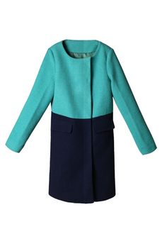 OASAP - Collarless Color Block Wool-blend Coat - Street Fashion Store