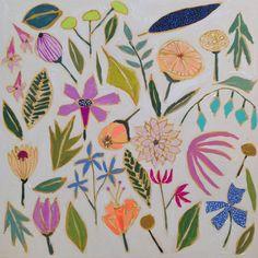 Lulie Wallace - Falling Flower No. Art Floral, Floral Artwork, Floral Prints, Art And Illustration, Illustrations, Pattern Art, Print Patterns, Morris, Bedroom Art