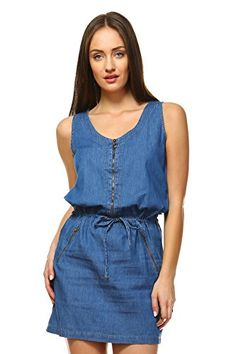 858a6d64ad Boteley Fashion Sleeveless Zipper Closure Denim Shirtdress Women at Amazon  Women s Clothing store