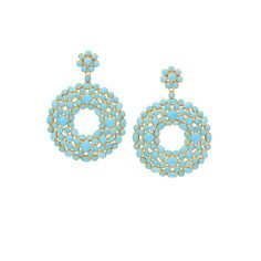 Pair of Gold and Turquoise Pendant-Earrings