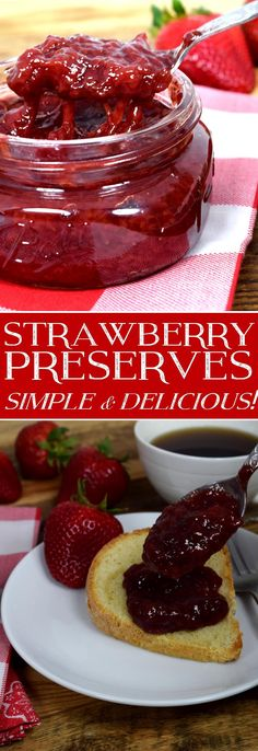 - Recipes for Fruit & Vegetable Preserves - Strawberry Preserves – Simple & Delicious! Jelly Recipes, Jam Recipes, Canning Recipes, Great Recipes, Dessert Recipes, Favorite Recipes, Strawberry Perserves Recipe, Eat Better, Pots