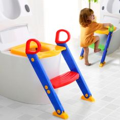 [$6.84] Foldable Kid Potty Training Toilet Seat with Ladder for U-shaped or Oval Toilet