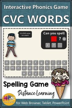 CVC Spelling Game ~ Short Vowels Interactive Spelling Game! This fun CVC phonics game is perfect for your kindergartners and first graders! Great for distance learning, whole group or reading centers whenever you are working on spelling CVC words!