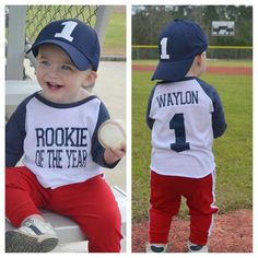 Let's play ball! This adorable raglan is perfect for your little rookie who's turning one! Great for birthdays, ball games & sports fan everywhere! Please note all shirt colors are vintage style…More Baseball First Birthday, Sports Birthday, 1st Boy Birthday, Boy Birthday Parties, Baseball Party, Birthday Basket, 1st Birthday Ideas For Boys, Birthday Gifts, Baseball Tickets