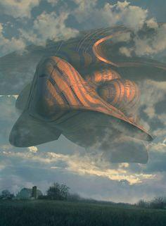 sci-fi science fiction spaceship clouds landscape farm village steve burg concept art