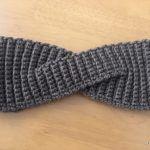 【無料編み図】畝編みのヘアターバン