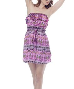 Take a look at this Begonia Pink Tie-Waist Strapless Dress by Classique on #zulily today!