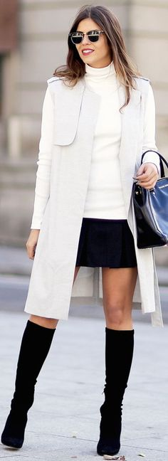 Grey, white and black outfit