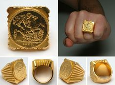 Arrow Jewelry, Gold Rings Jewelry, Bold Jewelry, Cross Jewelry, Jewellery, Bishop Ring, Gold Coin Ring, Royal Rings, Gold Ring Designs
