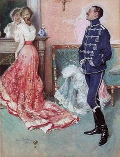 Lieutenant (und Dame) by Oscar Arthur Bluhm (1867-1912). What's the story? Looks as if this poor girl has got herself mixed up with a bit of a cad - he looks super-slick though!
