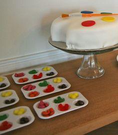 art theme party paint palette candy snacks