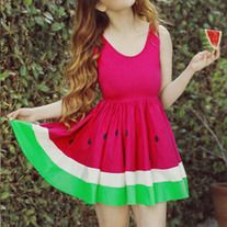 *Limited Edition* JUICY RED Mouth-watering WATERMELON Dress sold by New York Couture. Shop more products from New York Couture on Storenvy, the home of independent small businesses all over the world. Watermelon Outfit, Watermelon Skirt, Cool Outfits, Summer Outfits, Summer Sundresses, Diy Clothes, Clothes For Women, Pretty Dresses, Passion For Fashion