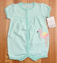 Carter's Baby Girl Romper ~ Mint Green, White & Pink ~ 6M ~ Flamingo ~ Stripes #Carters #Romper #Flamingo