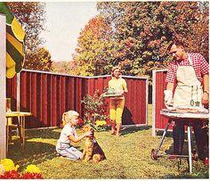 retro perfection. note prints! grill, backyard, dog.