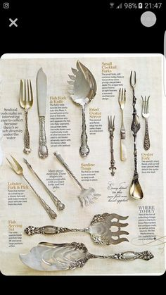 Want to add these to my antique silver collection! I love beautiful mismatched silver for parties SterlingSilverCutlery is part of Silver cutlery - Silver Cutlery, Vintage Cutlery, Sterling Silver Flatware, Silver Plate, Vintage Silver, Antique Silver, Antique Plates, Vintage Frames, Dining Etiquette