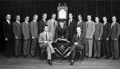 Skull & Bones secret society (note: George H.W. Bush standing to the left of the clock.)