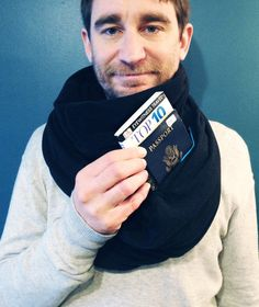 Micro Fleece Scarf With Hidden Pocket - perfect for travel!