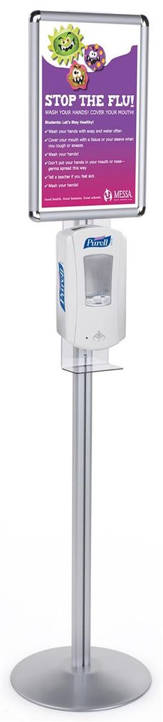11 x 17 Menu Floor Stand, Snap Open, Purell Hand Sanitizer Dispenser - Silver Purell Hand Sanitizer Dispenser, Flu Prevention, Janitorial Services, Your Space, Base, Flooring, Crete, Workplace, Nursing