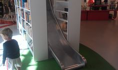 The slide at the childrens section in Hjørring Public Library.   Do you know any more libraries w slides like this?