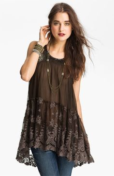 The back of this top is stunning!  Free People Embellished Sheer Tunic available at #Nordstrom