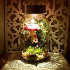 """"" Items similar to Light + Fairy Garden + Children's Room + Gnome + Mason Jar + Woodland + Forest + Gift + Kids + Decor + Storybook + Fairytale + Bedroom on Etsy """" Nightlight / Fairy Garden / Children's Room / de PeterAndWolf """" Fairytale Bedroom, Fairy Bedroom, Enchanted Forest Bedroom, Forest Room, Forest Decor, Mason Jar Crafts, Mason Jars, Glass Jars, Mason Jar Terrarium"