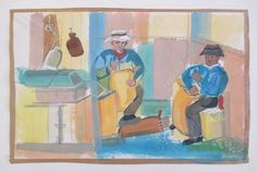 Virginia Gould Kay Listed Vintage 1940's WPA Era Shop Workers Modernism Painting | eBay