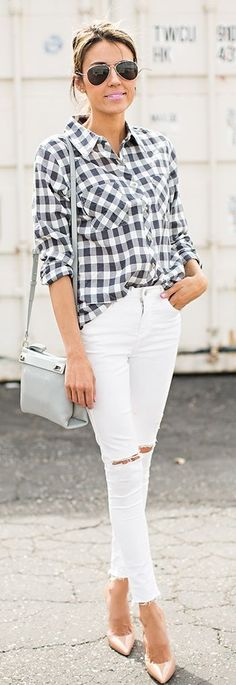 Spring Button-up Outfit Idea by Hello Fashion