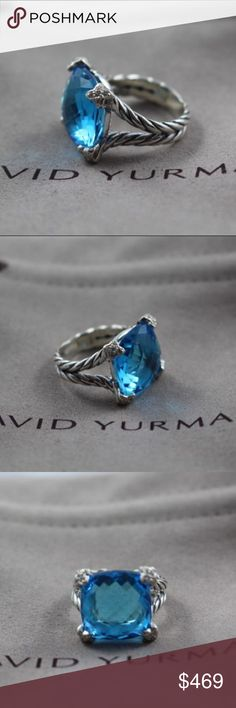 """David Yurman 15mm Blue Topaz On Point Cushion Ring Excellent Like New Pre-Owned Condition Authentic DAVID YURMAN  Cushion On Point Ring with Blue Topaz and Diamonds  Size: 8  Retail $1,150 Sterling silver and 0.10 total carat weight Faceted Blue Topaz, 11mm Pave diamonds, Split- Shank 15x15mm wide  Comes with David Yurman Pouch  Hallmarked """"© DY"""",""""925""""  Please look at all pictures for details as this is the actual ring you are buying. David Yurman Jewelry Rings"""