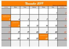 Five November 2019 Calendar Printable, Explore all the calendar templates that we made for you, a simple calendar model that is clear and easy to understand Make A Calendar, Holiday Calendar, Calendar Printable, 2019 Calendar, November Holidays, Usa Holidays, November 2019, Templates Printable Free, Printables