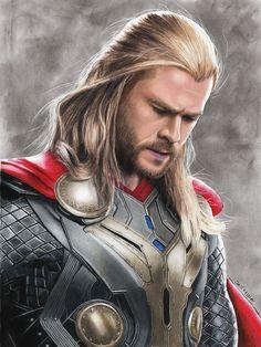 Marvel Drawing Thor Drawing - Thor Drawing by Jasmina Susak - Marvel Films, Marvel Art, Marvel Dc Comics, Marvel Characters, Marvel Heroes, Marvel Cinematic, Chris Hemsworth Thor, Thor Drawing, Drawing Drawing