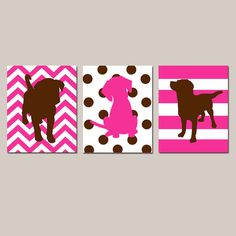 Puppy Dog Trio - Set of Three 8x10 Prints - Kids Wall Art for Nursery - Chevron, Polka Dots, Stripes - Choose Your Colors on Etsy, $55.00