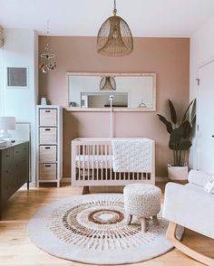 Baby Nursery Decor, Baby Decor, Ikea Nursery, Baby Nursery Ideas For Girl, Ikea Baby Room, Baby Girl Room Decor, Apartment Nursery, Nursery Room Ideas, Round Rug Nursery