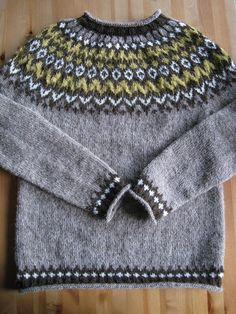 From Ístex Lopi No. Design by Védís Jónsdóttir. Eventually I will get a picture of it on it's owner. It will be blocked, and hopefully won't look so bumpy on the yoke. Knitting Wool, Fair Isle Knitting, Hand Knitting, Knitting Patterns, Norwegian Knitting, Icelandic Sweaters, Nordic Sweater, Hand Knitted Sweaters, Knit Crochet