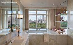 Onyx bathtub in a Manhattan apartment, Lee Mindel Dream Bathrooms, Beautiful Bathrooms, Freestanding Fireplace, Manhattan Apartment, Commercial Interior Design, Interior Inspiration, Bathroom Inspiration, Bathroom Ideas, Decoration