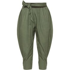 Isolde Roth Dark-Green Plus Size Cropped balloon trousers ($185) ❤ liked on Polyvore featuring pants, capris, trousers, plus size, crop pants, plus size trousers, isolde roth, womens plus pants and relaxed fit pants