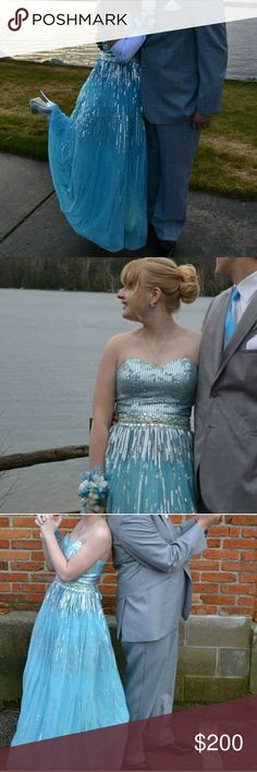 Blue Cinderella Prom Dress Gorgeous sparkly sequin covered dress. So high quality! Only worm once a few years ago. Corset back. Please make an offer! Narianna Dresses Prom