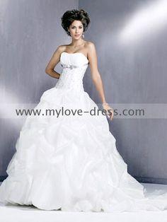 beautiful sweetheart strapless court train white ball gown wedding dress(BGD-069)