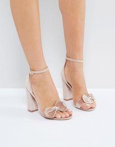 Shop London Rebel Bow Trim Block Heel Sandal at ASOS. 36e67c06cf4