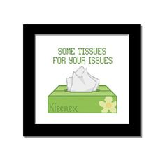 "Cross Stitch Pattern  Counted Cross Stitch by CowbellCrossStitch ""Some Tissues For Your Issues"""