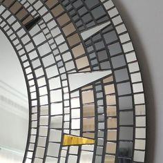 Large Round Mirror Mosaic Mirror Gold Silver and Black
